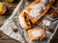 Рецепта Щрудел с готово тесто, ябълки, орехи и канела